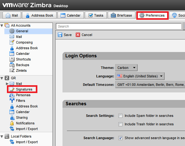 How to create signature in ZIMBRA